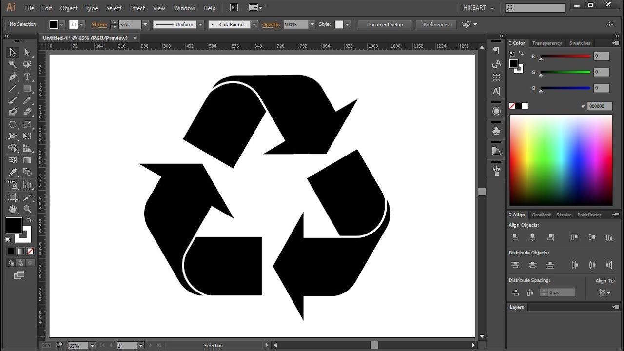 How To Draw A Recycle Symbol In Adobe Illustrator Youtube