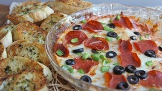 Hot Pizza Dip Recipe W/ Toasted Garlic Baguettes