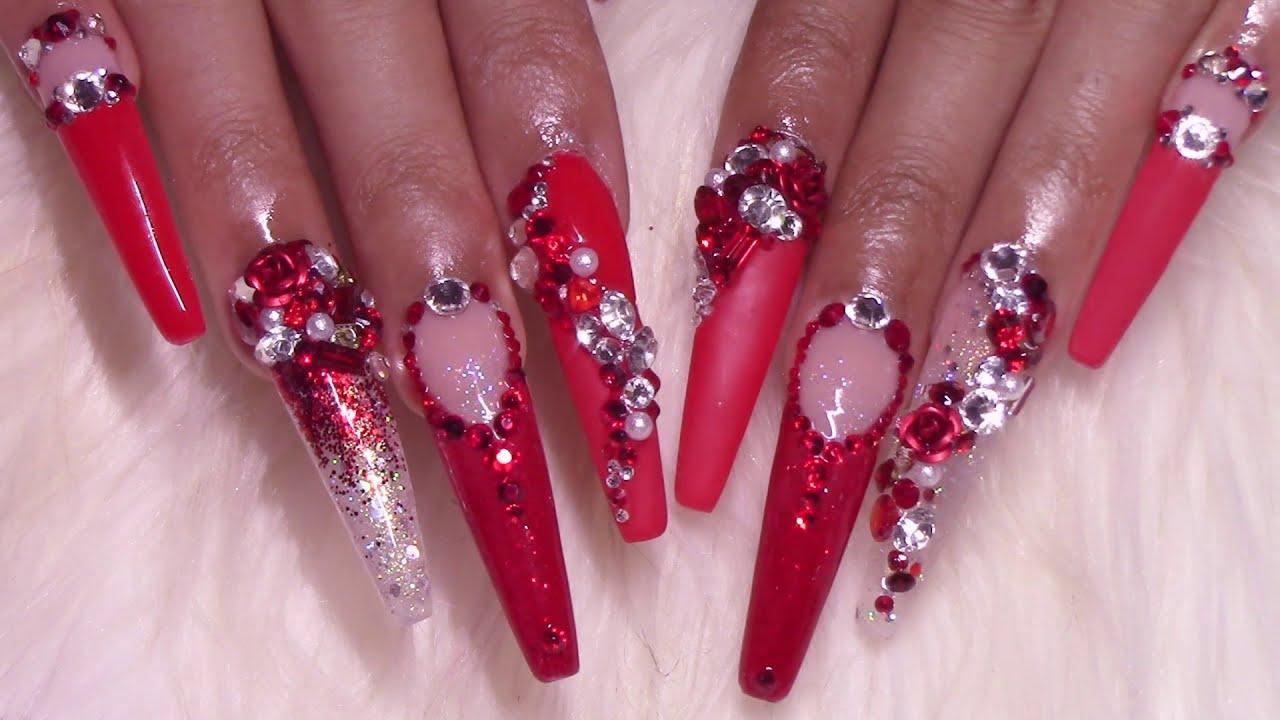 Femi Beauty: Bling Secrets | Ruby Crush Acrylic Nails Design Tutorial | MODELONES