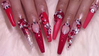 Bling Secrets 🤫 | Ruby Crush Acrylic Nails Design Tutorial | MODELONES
