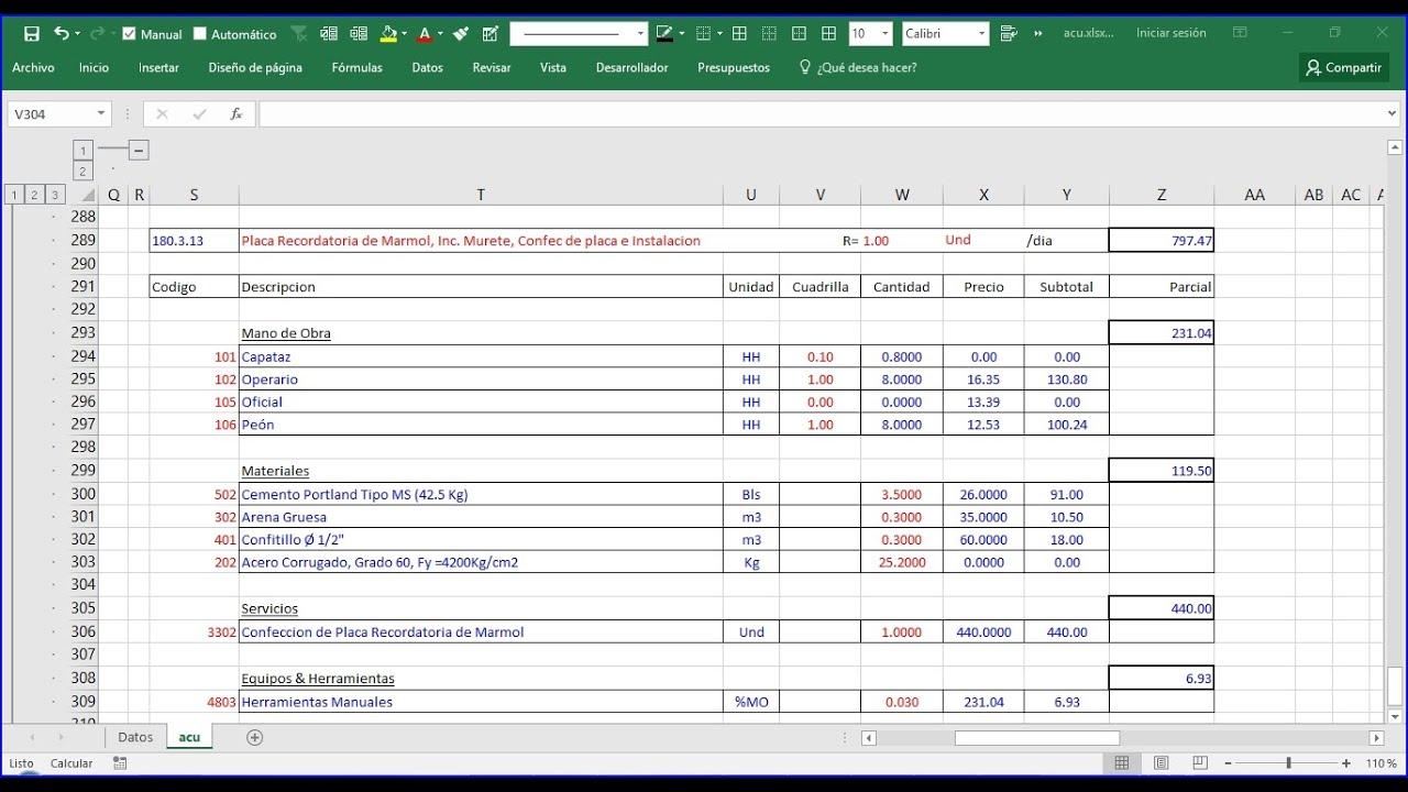 Analisis de precios unitarios apu 1 presupuesto de for Presupuesto piscina obra