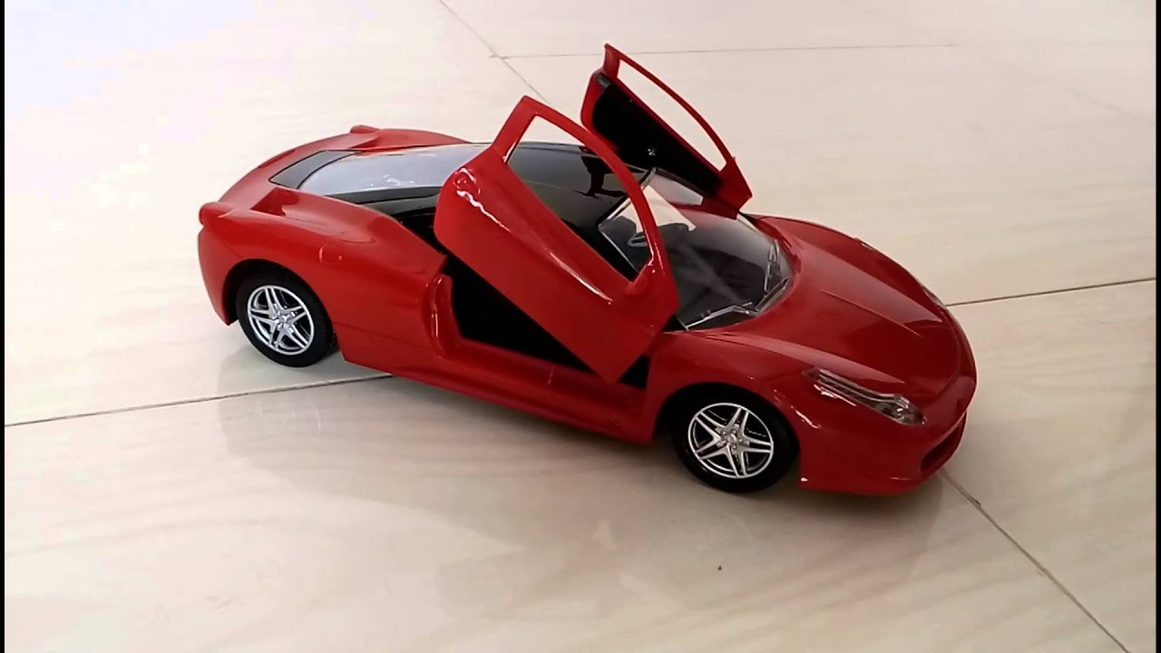 kids ferrari remote control ride and unboxing lighting car with cross open door youtube
