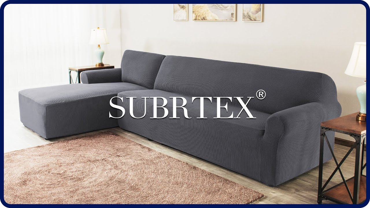 how to install 2 pieces l shaped sectional couch covers by subrtex