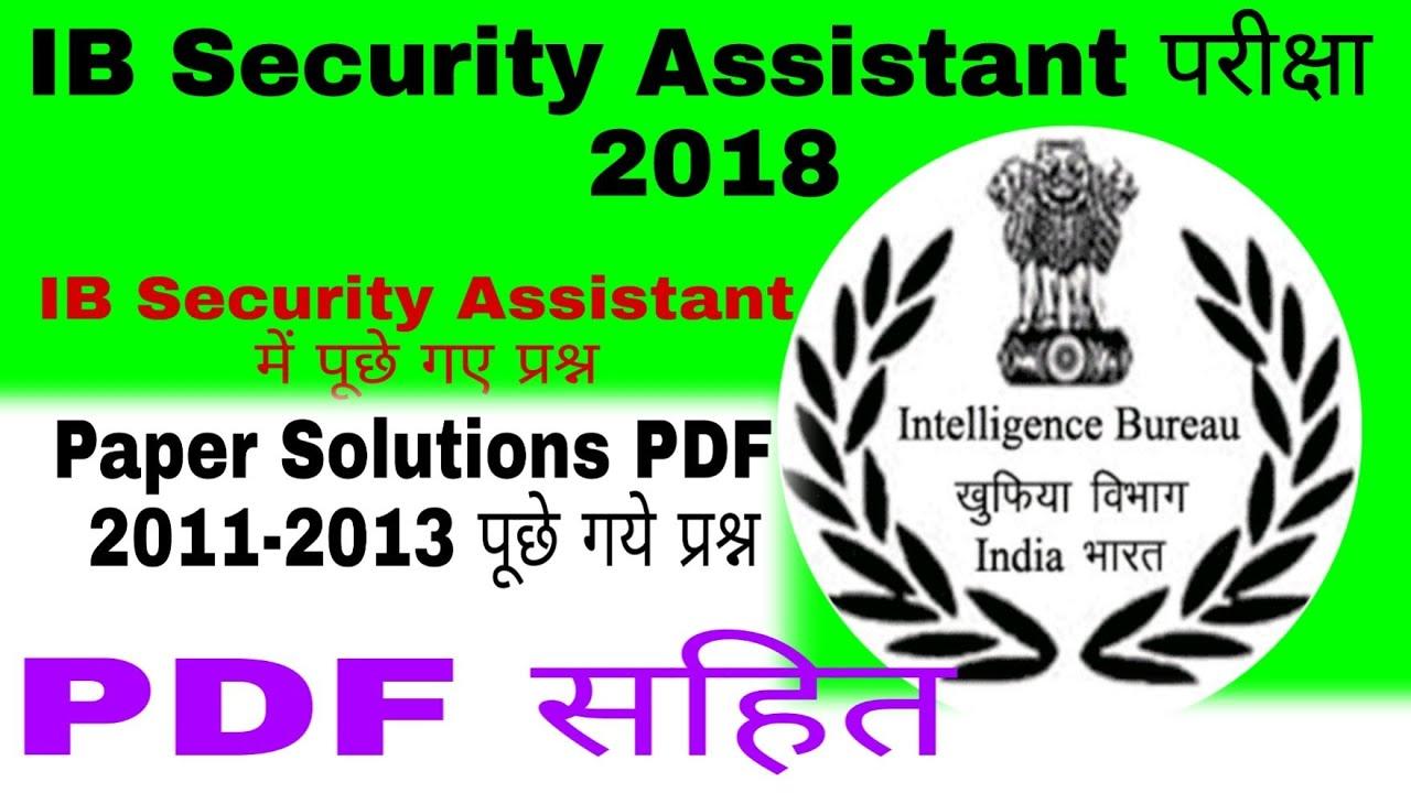 Ib Security Assistant Question Paper 2013 Pdf
