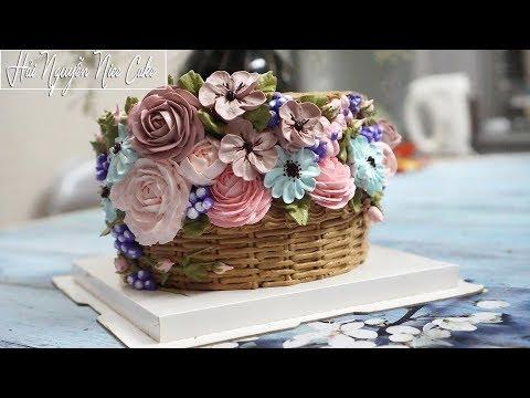 Bánh Sinh Nhật Tạo Hình Giỏ Hoa Với Kem Topping - Decorate Basket Flower Cake | Foci