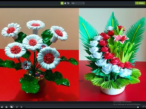 2 Easy Paper Flower Bouquet || Diy Flowers Making || Rom Decoration  || plastic Bottle Craft ideas
