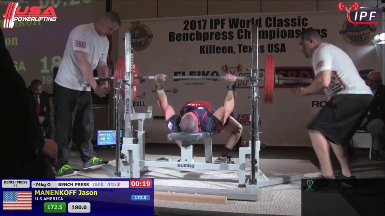 Jason Manenkoff Ipf Classic Bench Press World Championship 185kg 407lbs 73 84 162 7lbs