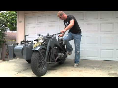 Motorcycle Kick Start Demonstration: 1942 Zundapp KS750