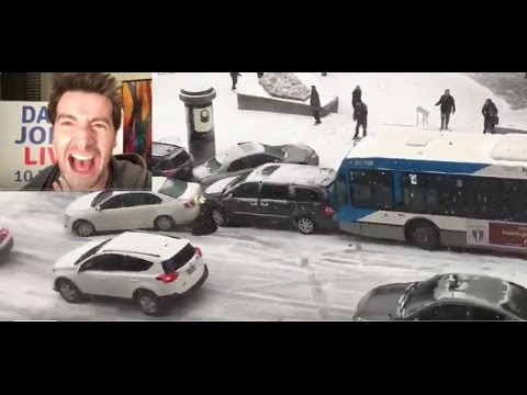 COP CAR CRASHES INTO BUS & SNOW PLOW ON ICY WINTER ROAD IN MTL! It's Canadian Clickbait! (reaction)