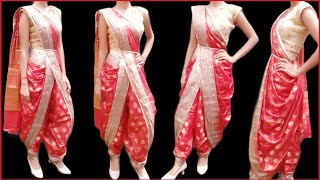 DHOTI STYLE SAREE DRAPING|DHOTI STYLE WITH SILK SAREE|STEP BY STEP|FULL EXPLAINED IN HINDI