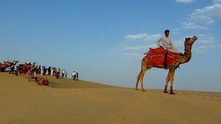 Camel ride in the Thar desert of Rajasthan, India thumbnail