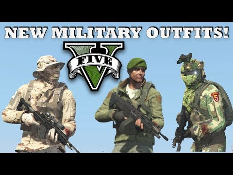 GTA V - New Top Military Outfits! Royal Marine & Desert Sniper | Custom Doomsday Heist Outfits