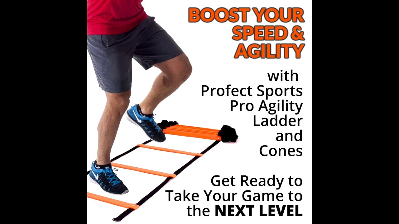 222435e35 Pro Agility Ladder and Cones - 15 ft Fixed-Rung Speed Ladder with 12 Disc  Cones for Soccer,