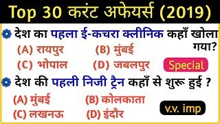 Current Affairs 2019 | Top 30 current affairs questions | current affairs 2019 important questions