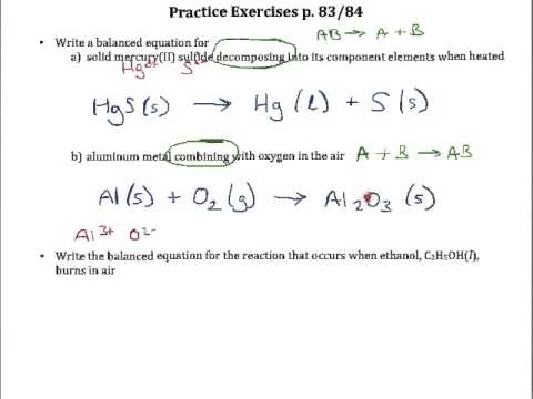 Practice Exercises P 83 & 84 Writing And Balancing Equations