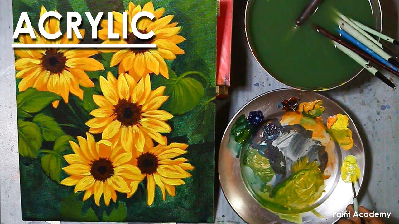Acrylic Painting : A Composition on Sunflowers