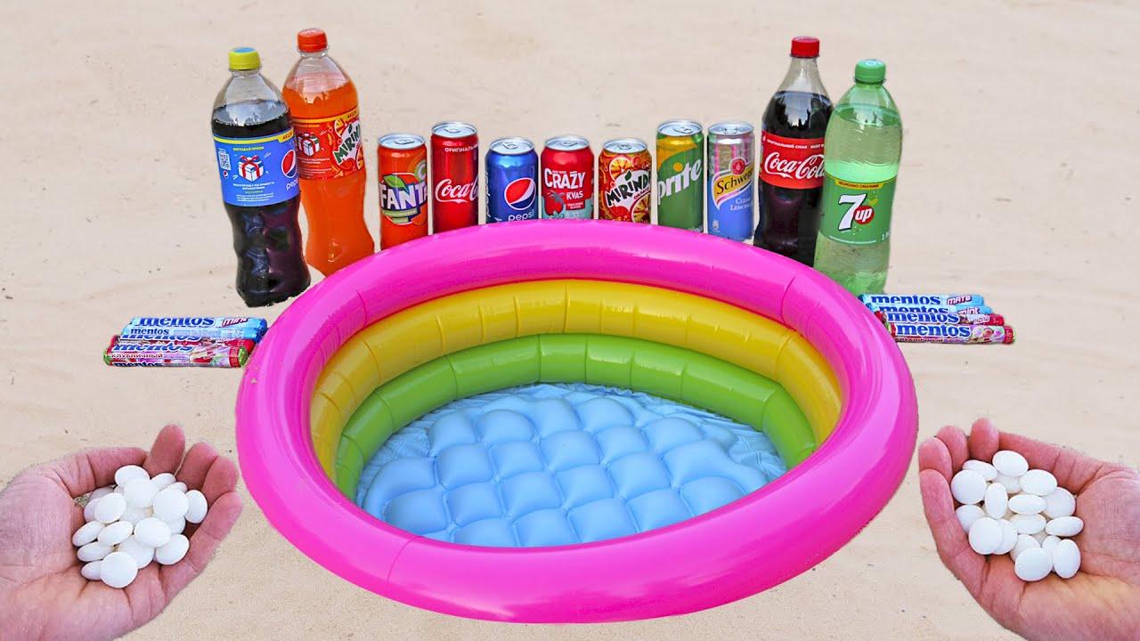Underground Experiment: Cola, Sprite, Fanta, Mirinda Pepsi vs Mentos in the Pool