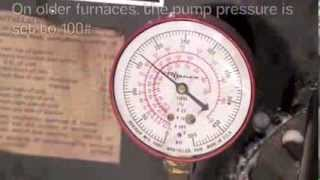 Oil furnace efficiency adjustments.  Part 2 Increasing the pump pressure