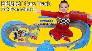 vuclip The BIGGEST Disney Cars Track EVER MADE!! Ultimate Florida Speedway Fun Time With Ckn Toys