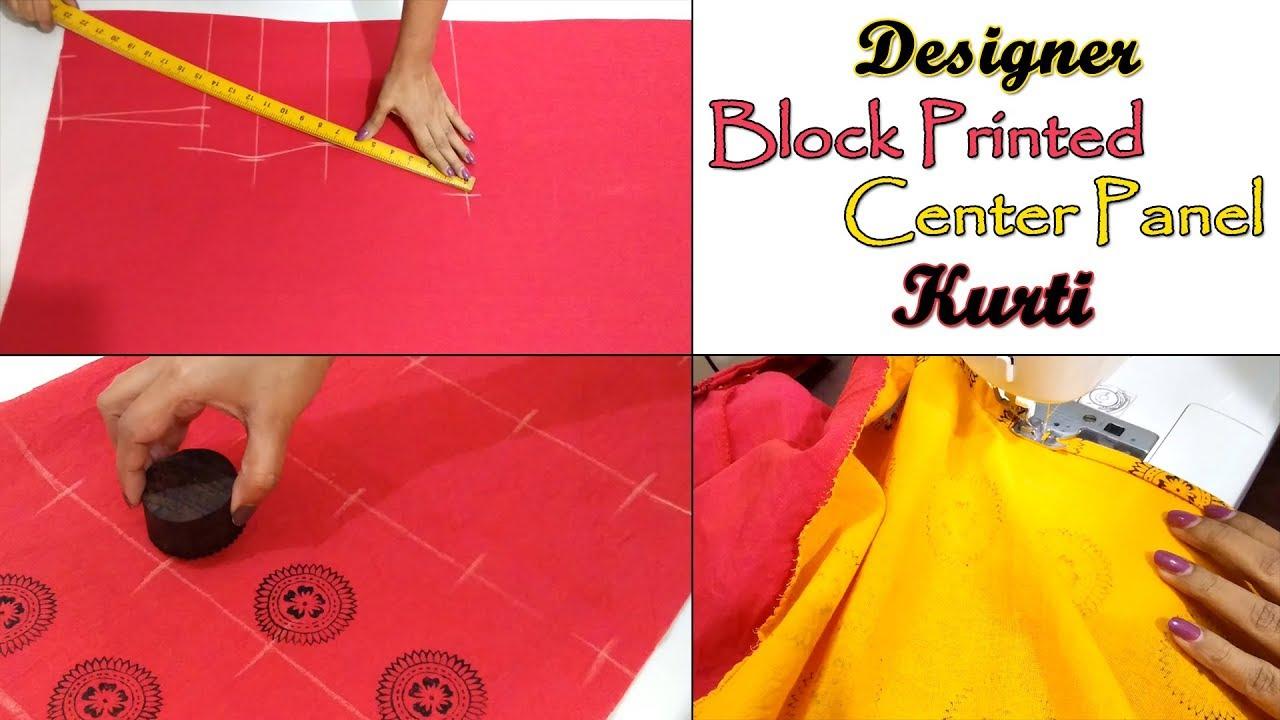 Designer Block Printed Center Panel Kurti Cutting & Stitching | Custom  Block Printing at Home