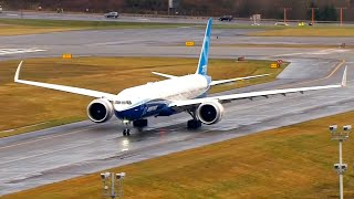 Boeing 777X taxis to the runway for its first flight