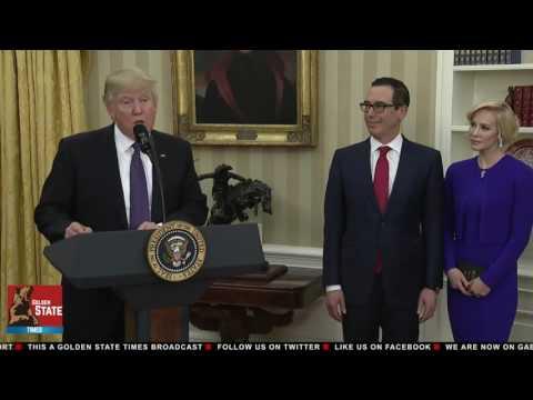 President Donald Trump Swears-In Steve Mnuchin as The Secretary of The Treasury