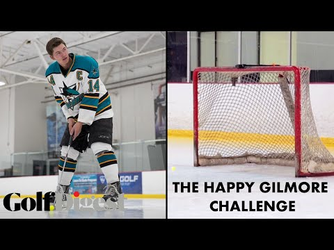 Maverick McNealy Tries The Happy Gilmore Golf Hockey Challenge | Golf Digest