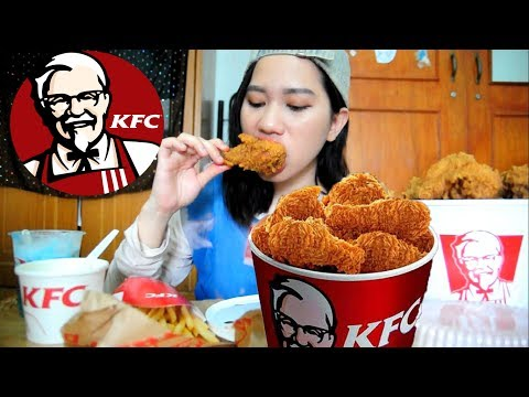 [mukbang] kfc whole bucket chicken + spaghetti + cream soup + Lychee float +French fries