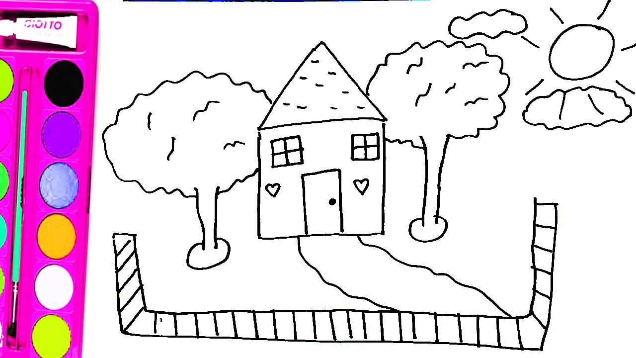 How to draw houses, trees, clouds and clothes - Coloring pages house ...