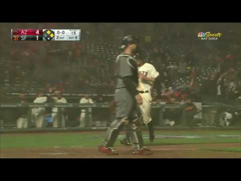 2017 Giants 41117 Nick Hundley fights off the rain and sends a fly ball into the corner in right to