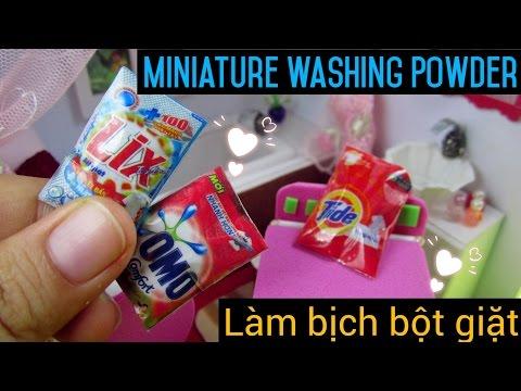 DIY Miniature Washing Powder- miniature bathroom | Cách làm bịch bột giặt cho búp bê | Ami DIY