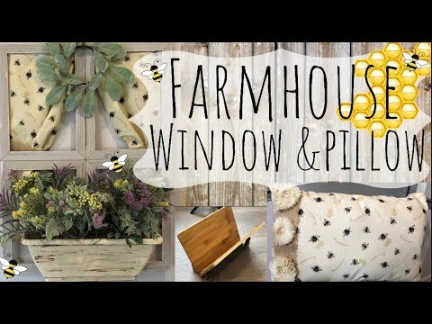 Dollar Tree Farmhouse Window with Curtains   Matching Shabby Chic Pillow   Bamboo Book Rack