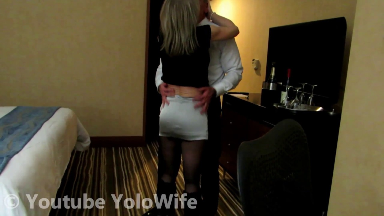 Wife In Shiny Satin Skirt Vinyl Boots Hotel Room Visit