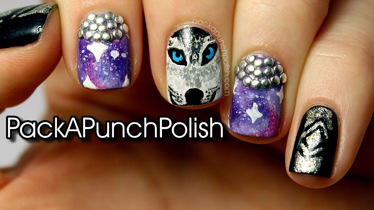 Wolf Galaxy Studded Nail Art Tutorial