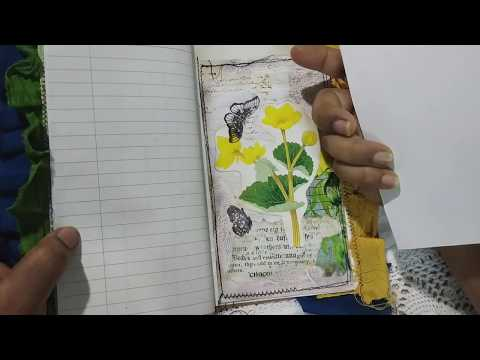 SUNFLOWER JOURNALS: using the ephemera made with crackle texture effect and decoupage. #junkjournals