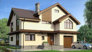 Проект дома в немецком стиле из пеноблока. Дом с гаражом, второй свет и балкон Ремстройсервис М-205