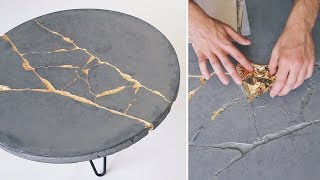 DIY KINTSUGI | How To Build a Round Concrete Coffee Table