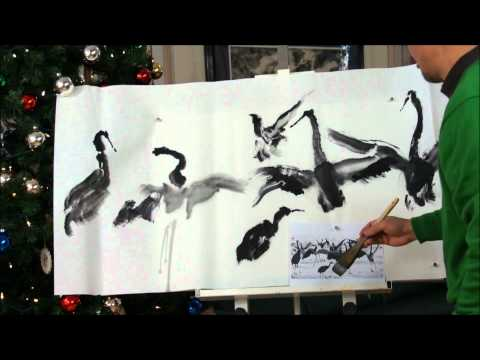 2011 New Year's Wishes with Dancing Cranes Chinese Brush Painting on Double Xuan Paper