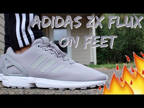 Grey Adidas ZX Flux On Feet/Detailed Look HD