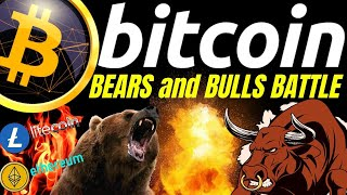 BITCOIN BEARS and BULLS BATTLE, LITECOIN ETHEREUM n DOW Crypto TA prediction, analysis, news trading