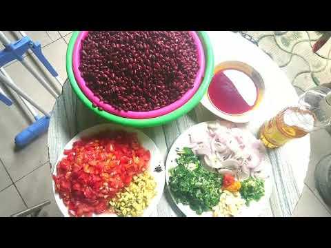 recettes-des-haricots-rouges-au-poisson-(haché)-accompagner-du-plantain-mûre(cuisine-camerounais-)