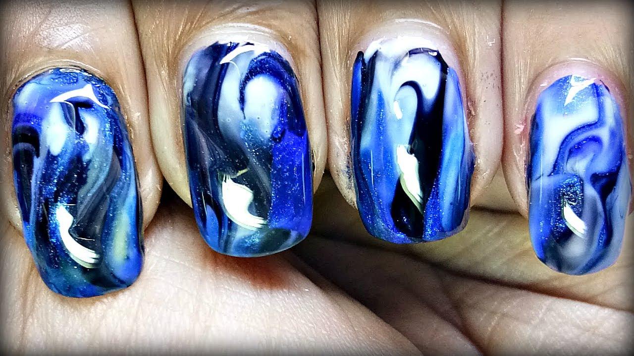 easy blue marble nail art design