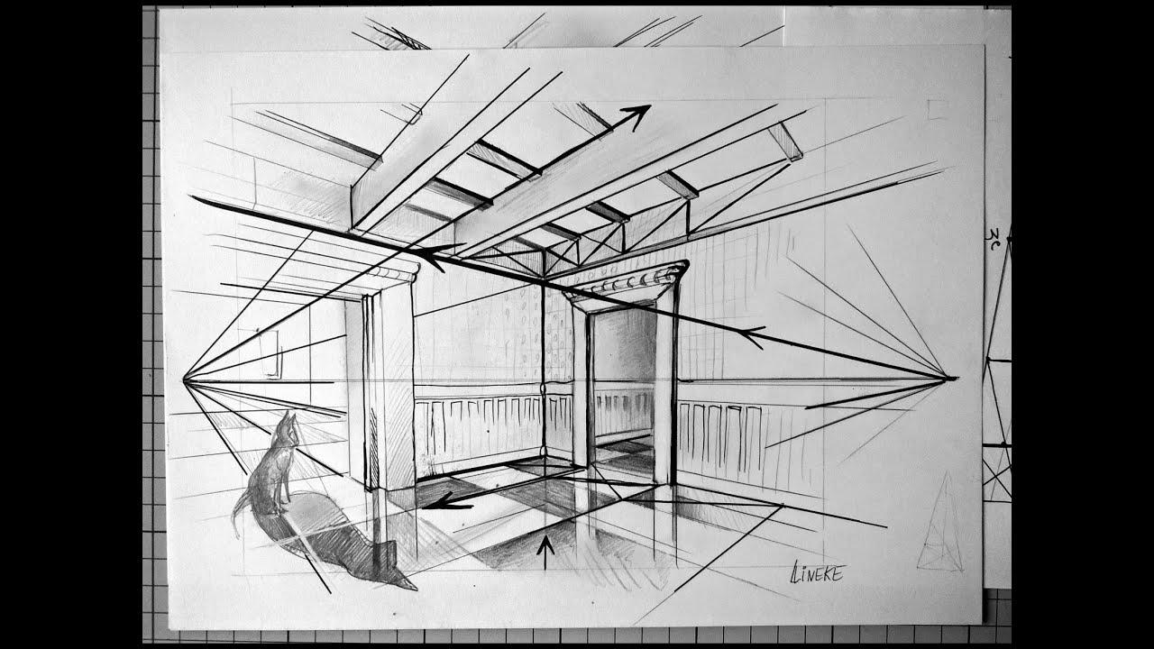 Kamer en twee punt perspectief tekenen voor beginners for Interieur tekenen