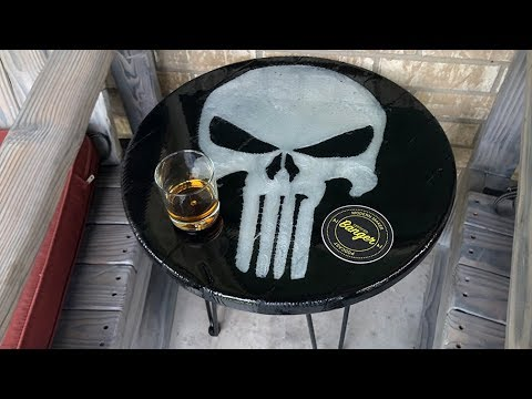 Torched Wood Table with Punisher Skull Epoxy Inlay - The IMPOSSIBLE build!