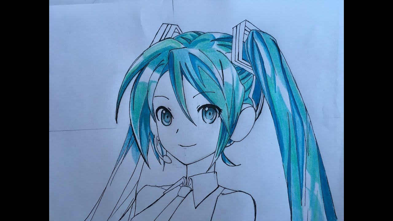Hatsune miku drawing face