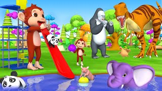 Giant Monkey Slider Ride with Farm Animals Funny Videos 3D Cartoons Animals Comedy Activity Videos