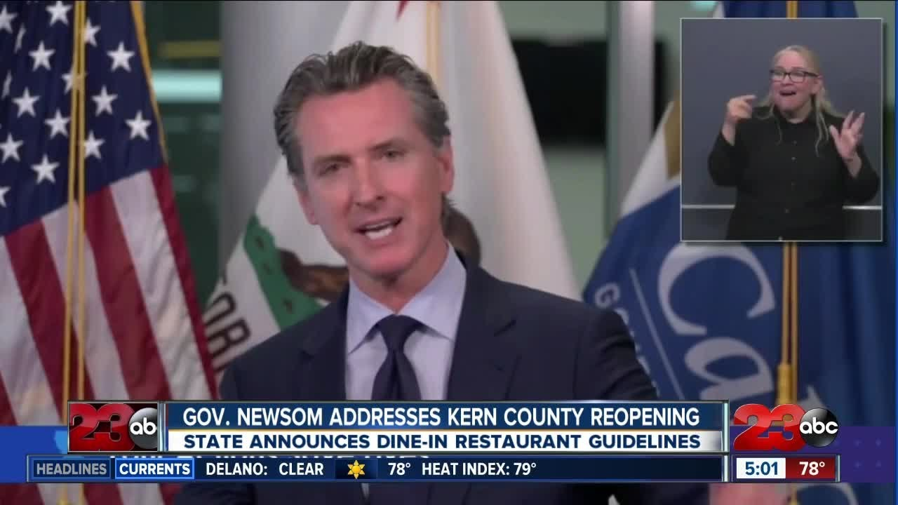 Governor Gavin Newsom addresses Kern County's plan to reopen faster
