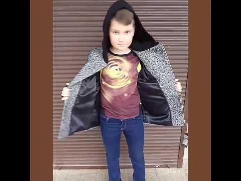 Пальто детское для мальчика, твид серый