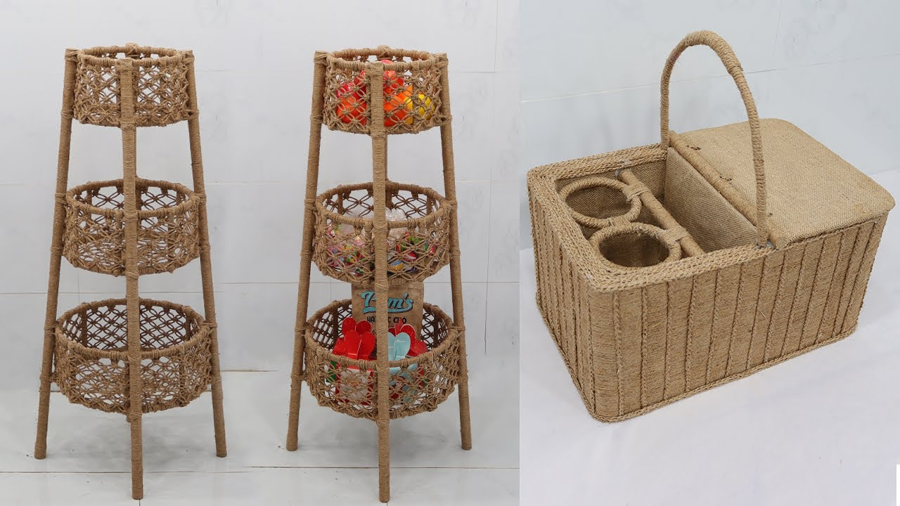 Amazing Reuse Waste Materials into Storage Baskets | Jute Craft Ideas