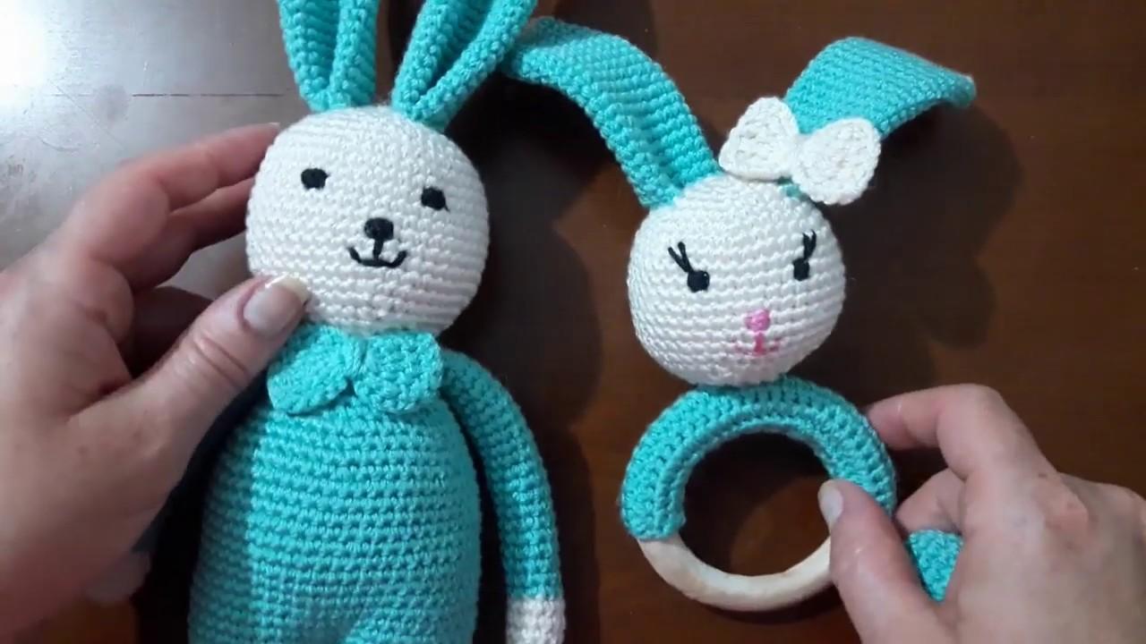 Amigurumi tavşan bebek seti, çıngırak yapımı, video 4, tavşan yüzü